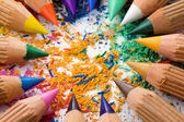 Colorful sharpened pencils and shavings — Stock Photo