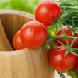 Stock Photo: Fresh cherry tomatoes closeup