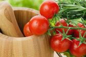 Fresh cherry tomatoes closeup — Stock Photo