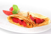 Pancakes. crepes with with strawberry on white background — ストック写真