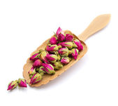 Tea rose flowers in a wooden spoon isolated on white — Stock Photo