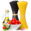 Italian food  - spaghetti, tomatoes, basil, olive oil, garlic an — Stock Photo