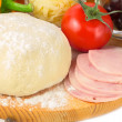 Pizza ingredients - dough, ham, tomato, cheese, olives pepper — Stock Photo #26566449