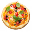 Pizza with ham, tomato and olives isolated on white background. — Stock Photo