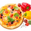 Pizza with ham, tomato and olives and vegetables isolated on whi — Stock Photo #26600467