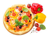 Pizza with ham, tomato and olives and vegetables isolated on whi — Stock Photo