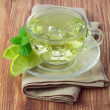 Cold green tea with ice cubes, lime sliced and mint leaves — Stock Photo #28710273