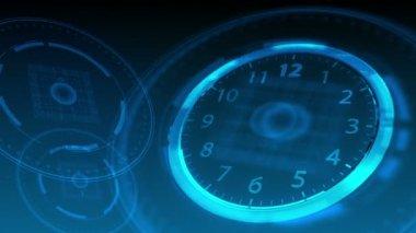 10 seconds to 12 - Hi-tech Clock 57 (HD) — Stock Video