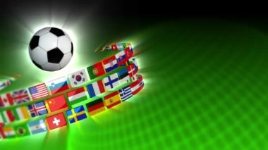 Soccer International Flags Sport Background 51 (HD) — Stock Video