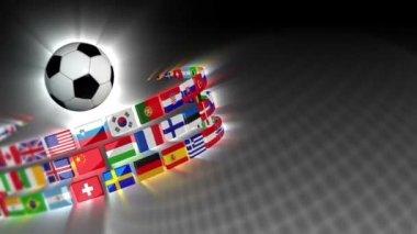 Soccer International Flags Sport Background 50 (HD) — Stock Video