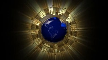 Golden Astrology Zodiac Signs and Planet Earth — Stock Video