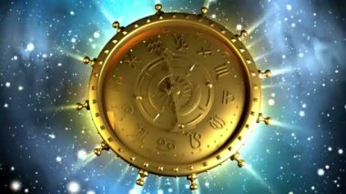 Golden Zodiac Machine and Stars — Stock Video