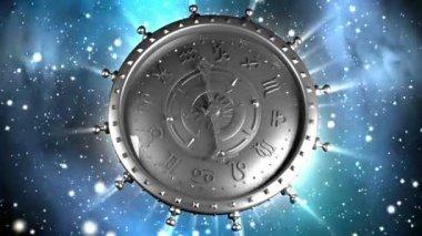 Silver Zodiac Machine and Stars — Stock Video