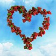 I Love Fresh Food - Strawberry Heart on Sky — Stock Video