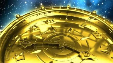 Golden Clock and Spinning Galaxy — Stock Video