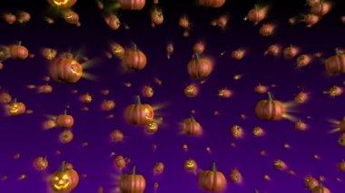 Halloween Pumpkins Falling Background Loop — Stock Video