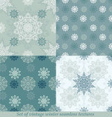 Vintage seamless winter patterns with snowflakes — Stock Vector