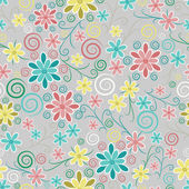 Textura sin fisuras floral adornada — Vector de stock