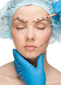 Woman face before plastic surgery operation — Stock Photo