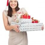 kvinna med julklappar — Stockfoto