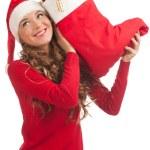 Santa woman with Christmas gifts — Stock Photo