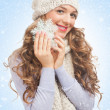 Stock Photo: Beautiful woman with snowflake