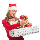 Christmas woman with gifts — Stock Photo