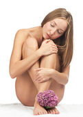 Sexy naked woman wtih pink flower — Foto Stock
