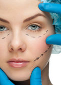 Female face before plastic surgery operation — Foto Stock
