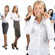 Stock Photo: Portrait of female call center employee with her colleagues
