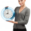 Business woman with big clock — Stock Photo