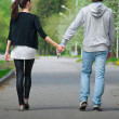 Young couple walking together in park — Stock Photo #15527307