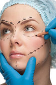 Female face before plastic surgery operation — Stock Photo