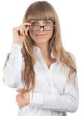 Young beautiful businesswoman wearing glasses — Stock Photo