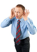Businessman listening — Stock Photo
