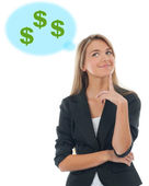 Business woman thinking about money — Stock Photo