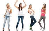 Collage of four happy excited young women — Stock Photo