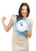 Woman with big clock — Stock Photo