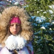 Stock Photo: Winter girl blow on snow