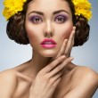 Woman with bright fashion make-up - Stock Photo