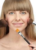 Young woman fashion makeup preparation — Stock Photo