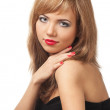 Beautiful blond woman with red manicure and red lips — Stock Photo
