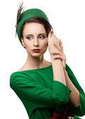 Portrait of beautiful retro styled woman — Stock Photo
