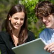 Couple sitting in park and using laptop — Stock Photo