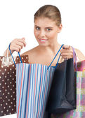 Chica con coloridos bolsos de compras — Foto de Stock