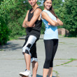 Young couple playing basketball - Foto Stock