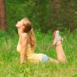 Woman doing yoga meditation - Foto Stock