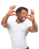 Happy man showing ok sign — Stock Photo