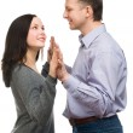 Happy couple holding hands — Stock Photo
