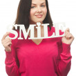 Happy beautiful woman smiling - Stock Photo